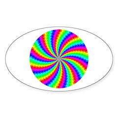 Rainbow Swirled Circle Sticker (Oval 50 pk)