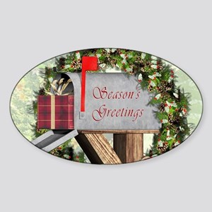 Season's Greetings Postbox Wreath Sticker