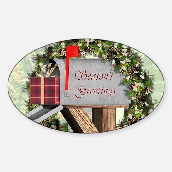 Season's Greetings Postbox Wreath Decal