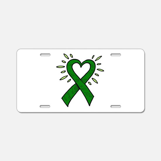Donor Heart Ribbon Aluminum License Plate