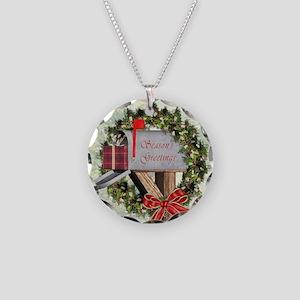 Season's Greetings Postb Necklace Circle Charm