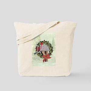 Season's Greetings Postbox Wreath Tote Bag