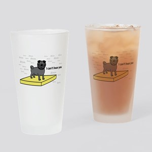 Table Pug in Black Pint Glass