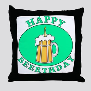Happy BEERthday Throw Pillow