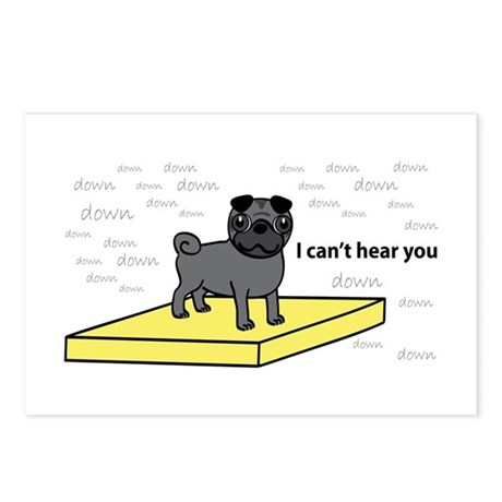 Table Pug in Black Postcards (Package of 8)