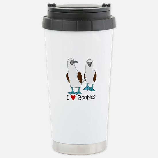 I Heart Boobies Stainless Steel Travel Mug