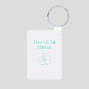 Hawaiian Birthday Aqua Aluminum Photo Keychain