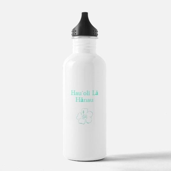 Hawaiian Birthday Aqua Water Bottle