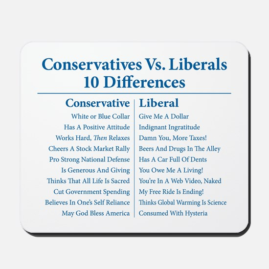 Conservatives Vs. Liberals 10 Differences Mousepad