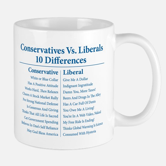 Conservatives Vs. Liberals 10 Differences Mug