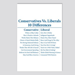 Conservatives Vs. Liberals 10 Differences Postcard