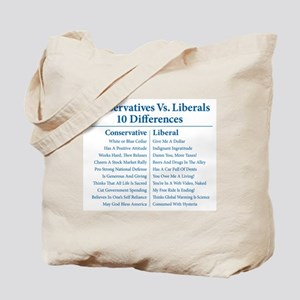 Conservatives Vs. Liberals 10 Differences Tote Bag