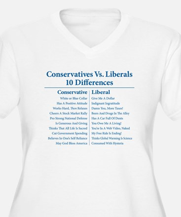 Conservatives Vs. Liberals 10 Differences T-Shirt
