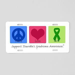 Peace Love Cure Tourette Aluminum License Plate