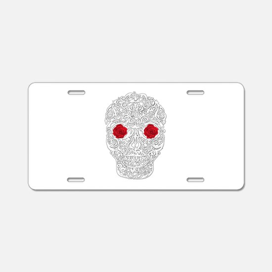 Day of the Dead Skull Aluminum License Plate