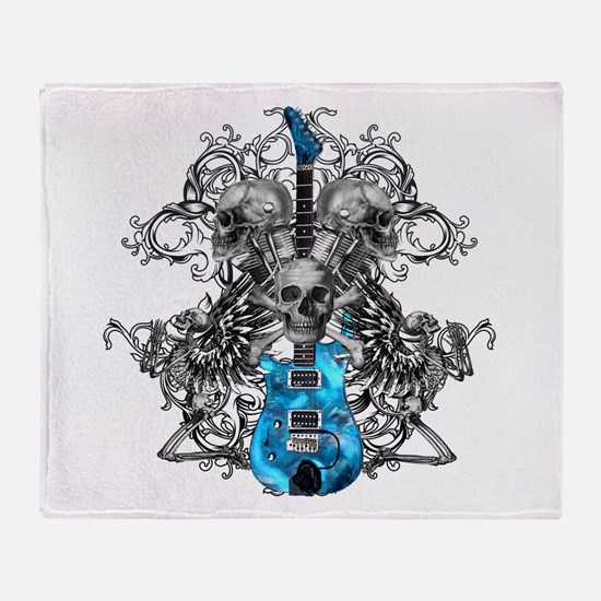 Praying Angel Skeleton Guitar Throw Blanket
