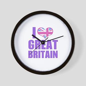 i heart great britain (lilac) Wall Clock