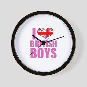 i heart british boys (pink) Wall Clock