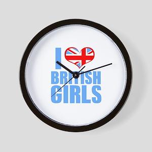 i heart british girls (blue) Wall Clock