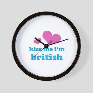 kiss me i'm british (pale pin Wall Clock