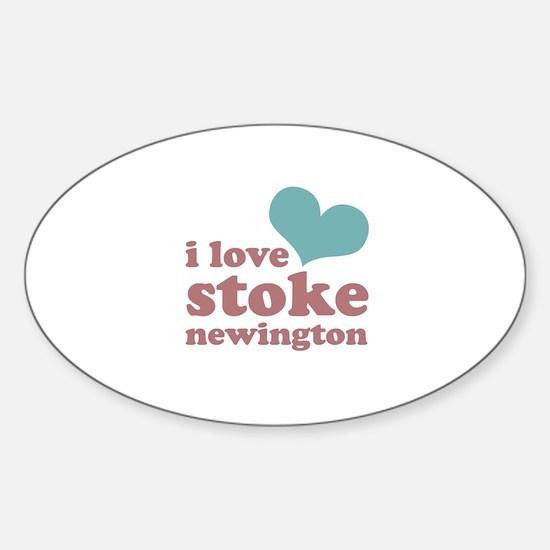 i love stoke newington (blue/ Sticker (Oval)