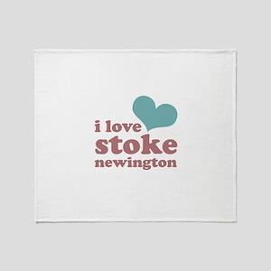 i love stoke newington (blue/ Throw Blanket