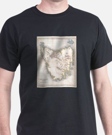 Vintage Map of Tasmania (1837) T-Shirt