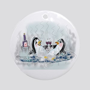 hOt tUb pEnGuInS Ornament (Round)