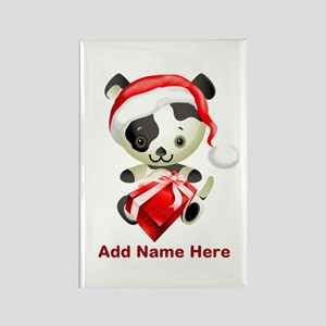 Christmas Santa Dog Rectangle Magnet