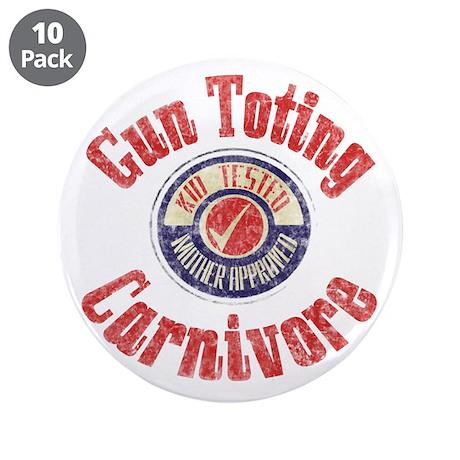 "Gun Toting Carnivore Seal 3.5"" Button (10 pac"