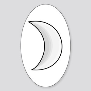 Silver Moon Crescent Sticker (Oval)