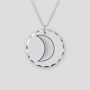 Silver Moon Crescent Necklace Circle Charm