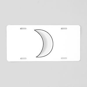 Silver Moon Crescent Aluminum License Plate