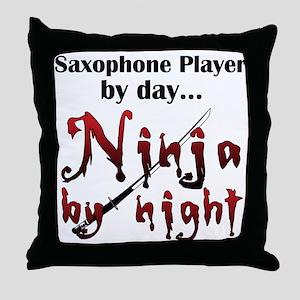 Saxophone Ninja Throw Pillow