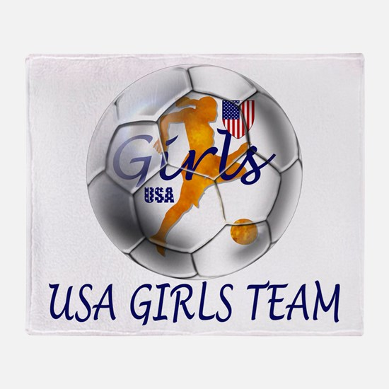 USA Girls Team Throw Blanket