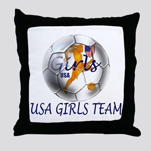 USA Girls Team Throw Pillow