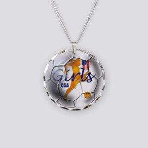 US Girls Soccer Ball Necklace Circle Charm