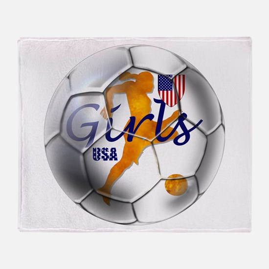 US Girls Soccer Ball Throw Blanket