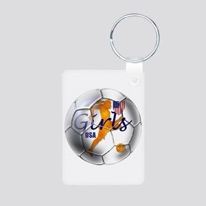 US Girls Soccer Ball Aluminum Photo Keychain