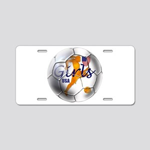 US Girls Soccer Ball Aluminum License Plate