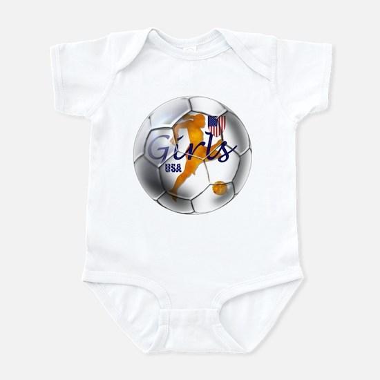 US Girls Soccer Ball Infant Bodysuit