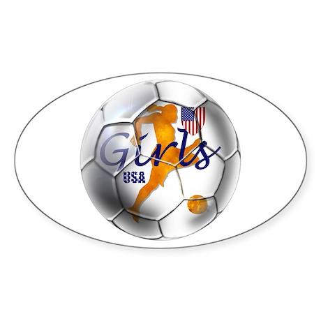 US Girls Soccer Ball Sticker (Oval 50 pk)