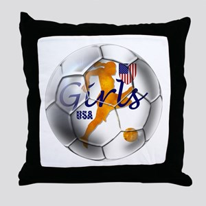 US Girls Soccer Ball Throw Pillow