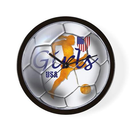 US GIRLS SOCCER BALL WALL CLOCK