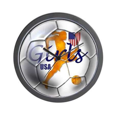US GIRLS SOCCER BALL WALL CLOCK