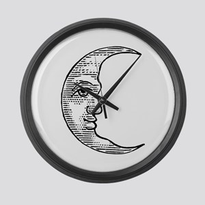 Vintage Crescent Moon Large Wall Clock