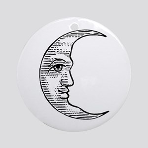 Vintage Crescent Moon Ornament (Round)