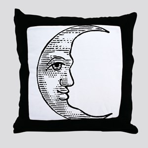 Vintage Crescent Moon Throw Pillow