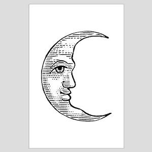 Vintage Crescent Moon Large Poster