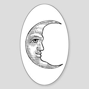 Vintage Crescent Moon Sticker (Oval)